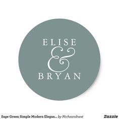 Sage Green Simple Modern Elegant Wedding Sticker