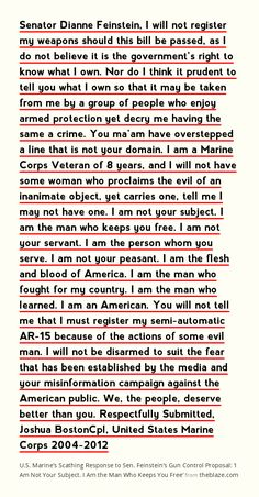 U.S. Marine's Scathing Response to Sen. Feinstein's Gun Control Proposal: 'I Am Not Your Subject. I Am the Man Who Keeps You Free'