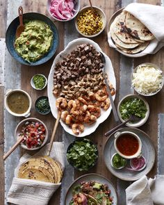 Shared Meals: Family-Style Taco Bar from What's Gaby Cooking Carnitas, Barbacoa, Horchata, Fiesta Party, Quesadillas, Tostadas, Beef Recipes, Mexican Food Recipes, Gourmet