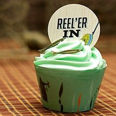 cute fishing-themed cupcake