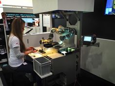 at work at the ABB Booth, Hannover Messe 2015 Abb Robotics, Espresso Machine, Coffee Maker, Kitchen Appliances, Hannover, Espresso Coffee Machine, Coffee Maker Machine, Diy Kitchen Appliances, Coffee Percolator