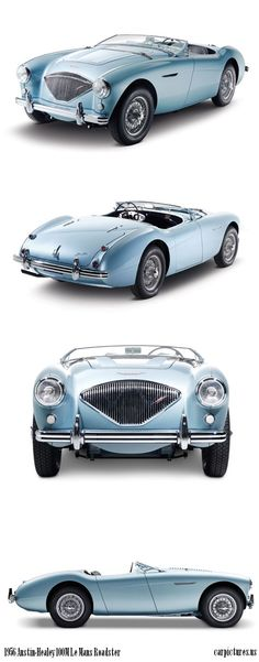 """In late 1955, three years after Donald Healey unveiled his """"Hundred,"""" the 100M made its debut. Modified with the racing experience gained from Bonneville to Le Mans, the 100M received a high-lift camshaft, larger carburettors, higher-compression pistons, free-flowing intake manifold, cold air box and a special distributor. Output increased from 90 to 110 hp, just 640 examples were built. More: http://carpictures.us/1956-austin-healey-100m-le-mans-roadster-2"""