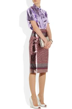 Burberry Prorsum | Printed lamé pencil skirt  $995| Burberry Prorsum's spring collection was full of dazzling metallics, like this exceptionally lightweight shimmering lamé pencil skirt. Emulate the runway styling and work the trend top-to-toe for maximum impact.    Shown here with: Burberry Prorsum top, Eddie Borgo bracelet, Bottega Veneta bracelet, Jimmy Choo shoes, Pierre Hardy clutch.