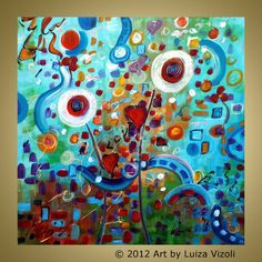 Original Modern Abstract Oil Painting LOVE LETTER by LUIZAVIZOLI, $199.00