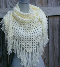 Triangle Scarf Shawl in Cream Hand Crochet Crochet Mittens Free Pattern, Crochet Shoes Pattern, Hand Crochet, Irish Crochet, Simply Crochet, Double Crochet, Crochet Stitches, Crochet Shawls And Wraps, Girly