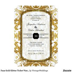 Faux Gold Glitter Ticket Vintage Couples Shower 5x7 Paper Invitation Card | Parisian ornate style is both modern in typography style and vintage style with its rococo baroque glittery swirls!  #paris #weddings #parisian #elegant #overthetop #goldglitter #glitter #blacktie From $1.58 at 100 invites