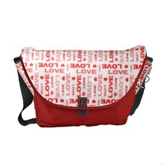 Love Hearts Red Commuter Bags