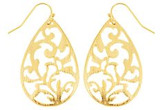 Gold Plated Cut-Out Teardrop Earrings on OneKingsLane.com