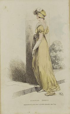 Back of a yellow evening dress, Belle Assemblée August 1813 ----- Quite like the sleeves. Very much a v-back, and the trimmings aren't too too.