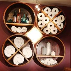 Wine barrel pieces to organize bathroom