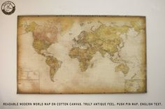 """NEW! Modern world map 2015, 60""""x37"""", 152 x 93 cm, Push pin, English text, Cotton canvas, Special Christmas gift, Office, Travel,School chart"""