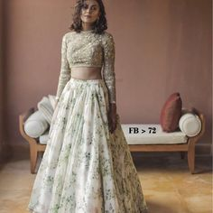 Looking for Floral print Sabyasachi lehenga in white and gold? Browse of latest bridal photos, lehenga & jewelry designs, decor ideas, etc. on WedMeGood Gallery. Indian Wedding Gowns, Indian Gowns, Indian Attire, Indian Outfits, Wedding Dresses, Lehenga Wedding, Indian Weddings, Floral Lehenga, Bridal Lehenga