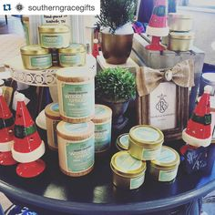 #Repost @southerngracegifts  Christmas Candles are here!! Woodland Spruce and Cinnamon Fireball will have your home smelling like fresh pine needles and cinnamon sticks! Available in drinking glass or travel tins. Come take a whiff of this goodness in the shop tomorrow! Open House Saturday hours: 9-4 #candles #shoplocal #southernfirefly #holidaycandles #homedecor #christmasiscoming #christmascookie #openhouse