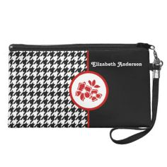 Personalized Red and Black Houndstooth Red Flower Wristlet Purse. A classy black and white houndstooth pattern wristlet with a modern red flower. Personalize this elegant and trendy fashion accessory for women by adding your name.