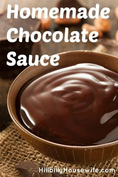 Homemade Chocolate Sauce - Hillbilly Housewife A simple recipe for chocolate sauce made from pantry items like cocoa powder, sugar, flour, and vanilla. Chocolate Sauce Recipe Cocoa Powder, Chocolate Sauce For Cake, Chocolate Syrup Recipes, Homemade Chocolate Syrup, Homemade Hot Fudge, Chocolate Dipping Sauce, Cocoa Powder Recipes, Chocolate Powder, Chocolate Topping