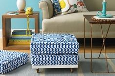 DIY your own ottoman, graphic rug, wrapping paper by caro schnyder