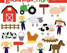 Buy 2, Get 1 FREE - Farm Fun Clipart - Digital Farm Clipart - Instant Download
