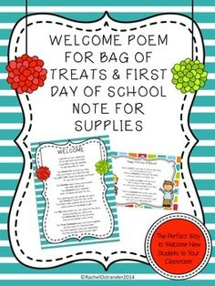 math worksheet : goodie bags poem and back to school on pinterest : Back To School Poems For Elementary Students