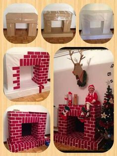 Make a fake fireplace out of cardboard boxes