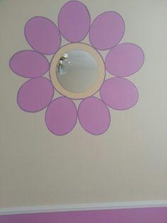 Painted mirror flower. Cute idea in girls room