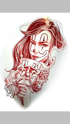 Boog Tattoo, Chicano Tattoos Sleeve, Chicano Style Tattoo, Chicanas Tattoo, Clown Tattoo, Tattoo Design Drawings, Tattoo Sketches, Badass Drawings, Gangster Drawings