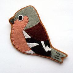 Chaffinch, Felt Bird Brooch by Lupin Handmade at Folksy.com