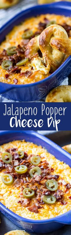 Baked Bacon Cheddar Jalapeno Popper Cheese Dip with Buttery Soft Pretzels @Walmart #ad #Tailgreatness