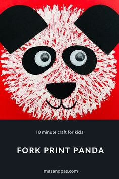 Use a fork to print this cheery panda. A fab 10 minute craft for kids. Time: 10 minutes Age: Toddlers to Little kids Difficulty: Easy peasy Panda Activities, Craft Activities For Kids, Preschool Crafts, Christmas Crafts For Kids To Make, Crafts To Make And Sell, Summer Crafts, How To Make, Around The World Crafts For Kids, Letter P Crafts
