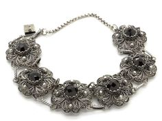 Victorian Bohemian Garnets & 800 Silver Bracelet - Handcrafted Silver Filigree - 1900s Antique Jewelry at VintageArtAndCraft