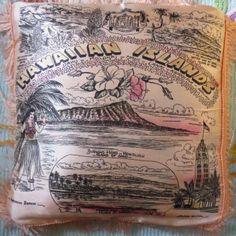 Vintage 1940s or 1950s Hawaiian souvenir pillow sham