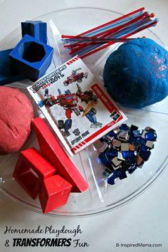 Homemade Playdough and Transformers Construct-Bots at B-Inspired Mama ≈≈