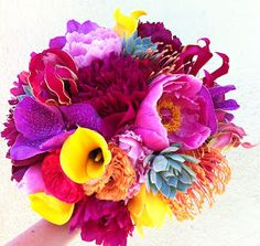 Florals By Jenny: Vibrant Summer Bouquet White Orchid Bouquet, Orchid Bouquet Wedding, My Flower, Flower Power, Tertiary Color, Bright Flowers, Bright Colours, Colors, White Orchids