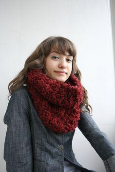 Handmade Ruby Red Fur Wool Chunky Loop Cowl Collar by denizgunes