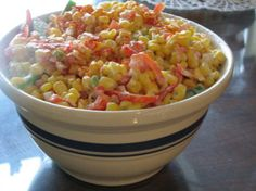 Creamy Corn Salad from Food.com:   								Another Taste of Home recipe.  I do love that magazine!!  This is a cold salad and though I haven't made it yet, looks like it would be a great side with that summer   bar-b-q.  Prep time does not include chill time.  Update to let you know I've not only made this once but several times and it's always well recieved by everyone.  Nice blend of flavors and so easy to put together.
