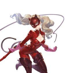 Persona 5 Ann, Persona 5 Joker, Character Drawing, Character Concept, Character Design, Shin Megami Tensei Persona, Bright Blue Eyes, Platinum Blonde Hair, Identity Art