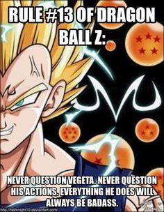 Rule #13 of Dragon Ball Z, featuring Vegeta. - Visit now for 3D Dragon Ball Z shirts now on sale!