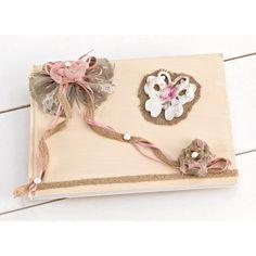 Βιβλίο Ευχών για κορίτσι με Vintage ξύλινο ζωγραφιστό λουλουδάκι καθώς και ξύλινη πεταλουδίτσα διακοσμημένο με δαντέλα και πέρλες. Bobby Pins, Crochet Necklace, Hair Accessories, Beauty, Vintage, Jewelry, Fashion, Moda, Jewlery