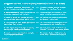 Customer Journey Mapping is not only great fun to do, it is an essential activity when creating great customer experiences. But it's easy to get lost when working with Customer Journeys. Not just when mapping the journey, but also when implementing the customer centric changes in the organization. Here we have listed 6 of the most common mistakes people do when mapping the Customer Journey, and what to do instead.