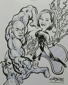 Hulk and Storm, couple drawn at a wedding reception