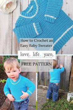 Free Crochet Pattern - Baby Ribbed Shoulder Sweater Source by dgearey Sweaters Crochet Jumper Free Pattern, Crochet Toddler Sweater, Boy Crochet Patterns, Crochet Baby Sweaters, Baby Sweater Patterns, Crochet Baby Clothes, Crochet For Boys, Baby Patterns, Free Crochet