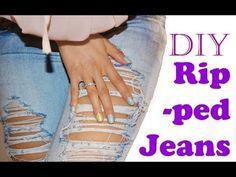▶ DIY - Ripped/destroyed jeans (EN subtitled) - YouTube