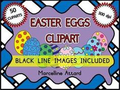 50 EASTER EGGS CLIPART- BLACK LINE IMAGES INCLUDED- OK FOR COMMERCIAL USE