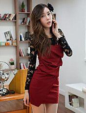 女性の刺繍スプライシング非対称裾ミニドレス – JPY ¥ 1,844