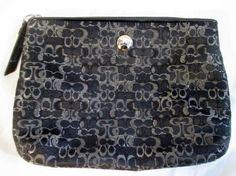 COACH Signature C Jacquard Baguette Purse Wallet Clutch Evening Bag BLACK SILVER