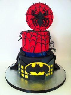 Spiderman & Batman cake