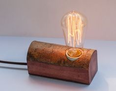 Wood table lamp, small wood lamp, red lamp, GoodLights, minimalist lamp, desk lamp, modern wood lamp, industrial lamp, edison lamp