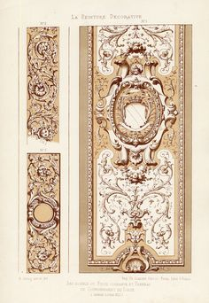 The Prints Collector :: Antique Print-DECORATION-ORNAMENT-LOUIS XIII STYLE-CORNICE-PLATE 5-Gruz-1860