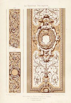 The Prints Collector :: Antique Print-DECORATION-ORNAMENT-LOUIS XIII STYLE-CORNICE-PLATE 5-Gruz-1860