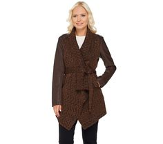 Lisa Rinna Collection Faux Leather Slv Wrap Jacket Chocolate Camel M NEW A268100