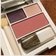 """Clinique Eye Shadow Palette Like New Clinique Eye Shadow Plus Blush Palette. 2 eye shadow colors come from """"come heather trio."""" Blush color: New Clover. Cream colored eyeshadow was swatch to test color.  Comes with unused blush brush, shadow sponge and mirror. Please note outside has few scratches and bottom is a little scratched. Clinique Makeup"""